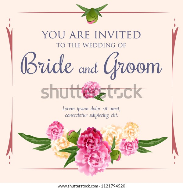 Wedding invitation design with bunch of peonies on pink background. Text in frame can be used for invitation cards, postcards, save the date templates