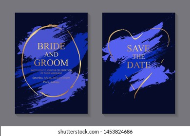Wedding invitation design or card templates for business or presentation with shiny golden frames and blue brush strokes on a navy background.