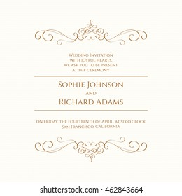 Wedding invitation. Design classic cards. Template for greeting cards, invitations