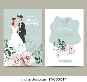 Wedding invitation design. Drawing bride and groom character, illustration, vector. Celebration, event, invitation, wedding dress, groom, romantic, pastel tones. Bridal flower bouquet, leave
