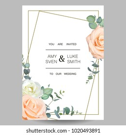Wedding invitation. Design of floral card with crystal frame