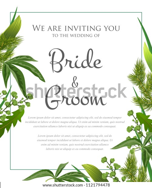 Wedding invitation design with green leaves and fur branches. Text in frame can be used for invitation cards, postcards, save the date templates