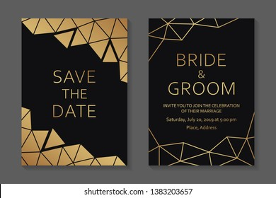 Wedding invitation design or greeting card templates with golden polygonal borders on a black background.