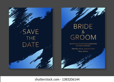 Wedding invitation design or greeting card templates with blue paint splashes and golden text on a dark background.