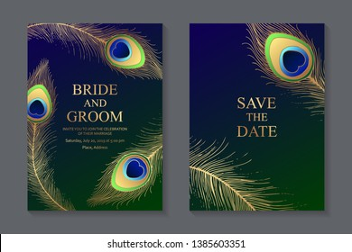 Wedding invitation design or greeting card templates with golden peacock feathers on a dark blue and green background.