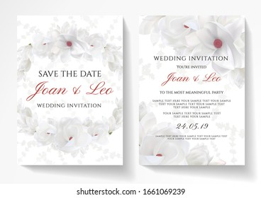 Wedding invitation design with magnolia flower wreath on white background. Vector template useful for Save the date card, 8 March greeting, anniversary invite