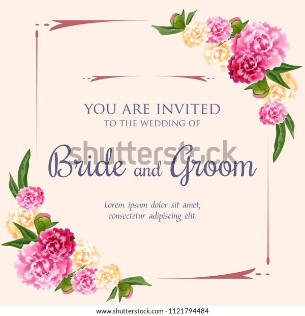 Wedding invitation design with pink and white peonies on pink background. Text in frame can be used for invitation cards, postcards, save the date templates