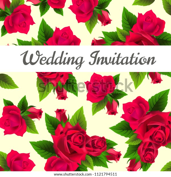 Wedding invitation design with red roses and leaves in background. Text on white banner can be used for invitation cards, postcards, save the date templates