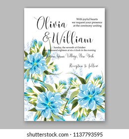 Wedding invitation design template blue chrysanthemum eucaliptus flowers and green leaves on white backround. Floral bouquet decoration. Vector illustration. Bridal shower invitation baby shower