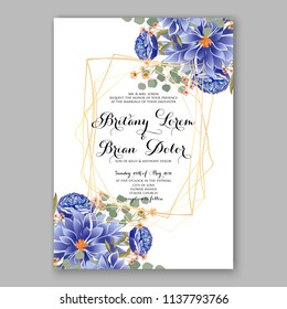 Wedding invitation design template blue soft chrysanthemum eucaliptus flowers and green leaves on white backround. Floral bouquet decoration. Vector illustration. Bridal shower invitation baby shower