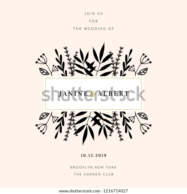 Wedding Invitation Design Template Floral Frame Stock Vector
