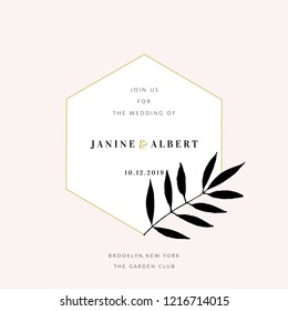 Wedding invitation design template with golden geometric frame, floral decoration, sample text layout in black and gold, light pink background.