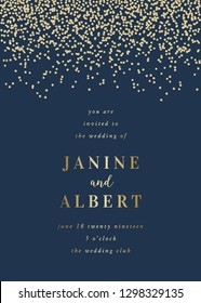 Wedding invitation design template with golden confetti on dark blue background and sample text layout. Vector greeting card, save the date, brochure design, scalable to 5x7 inches.