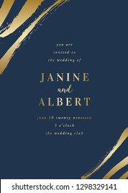Wedding invitation design template with golden brush strokes on dark blue background and sample text layout. Vector greeting card, wedding invitation, brochure design, scalable to 5x7 inches.
