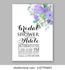 Wedding invitation design template lavander violet peony eucaliptus flowers and green leaves on white backround. Floral bouquet decoration. Vector illustration. Bridal shower invitation baby shower