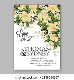 Wedding invitation design template pale roses eucaliptus flowers and green leaves on white backround. Floral bouquet decoration. Vector illustration. Bridal shower invitation baby shower