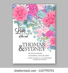 Wedding invitation design template pink chrysanthemum eucaliptus flowers and green leaves on white backround. Floral bouquet decoration. Vector illustration. Bridal shower invitation baby shower