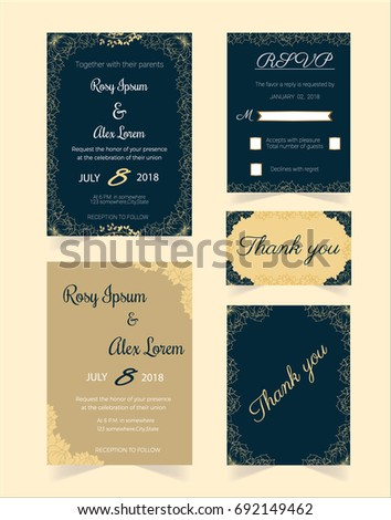 wedding invitation design template print save stock vector royalty