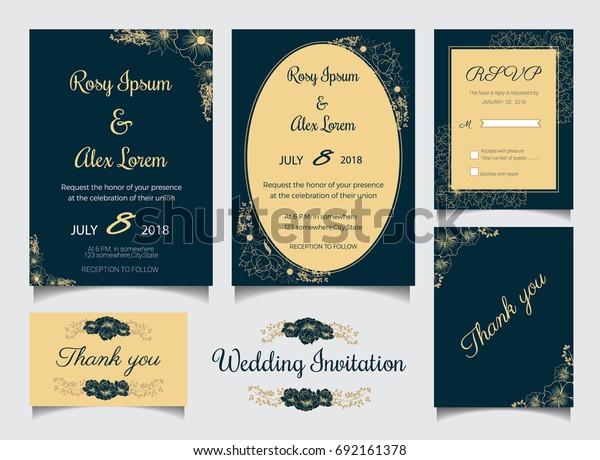 Wedding Invitation Design Template Print Save Stock Vector ...