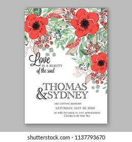 Wedding invitation design template red anemone peony eucaliptus flowers and green leaves on white backround. Floral bouquet decoration. Vector illustration. Bridal shower invitation baby shower