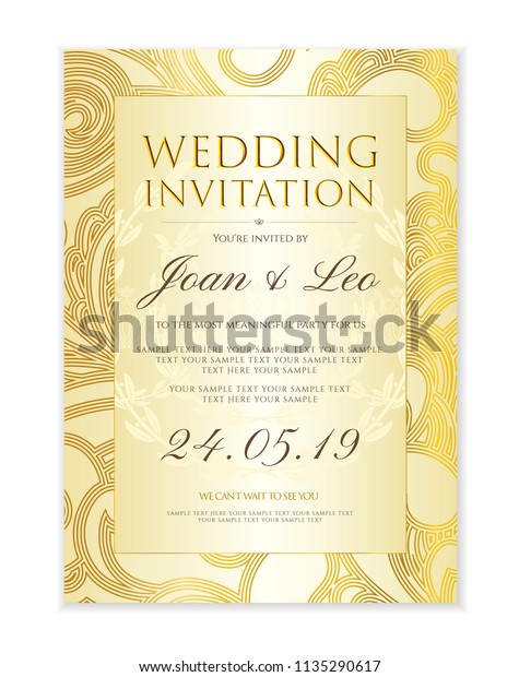 Gold Yellow Classic Engagement Party Invitations