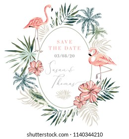 Wedding invitation design template. Tropical pink flamingo bird, palm leaves, trees oval frame background. Vector illustration. Summer beach floral design for the card, poster, tee shirt. Nature