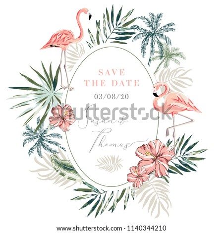 Wedding Invitation Design Template Tropical Pink Vector De Stock