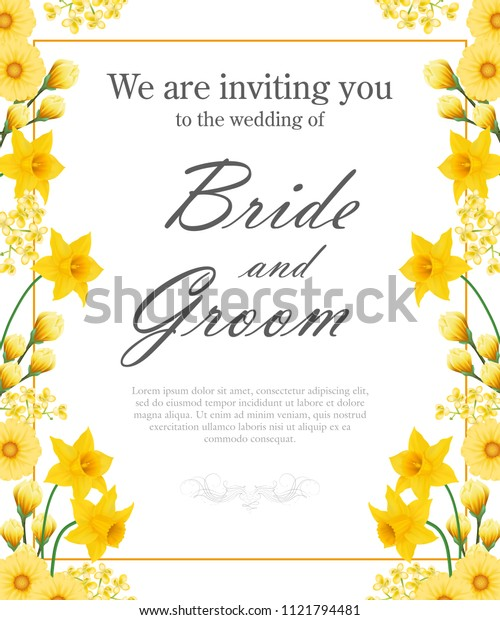 Wedding invitation design with yellow daffodils and gerberas. Text in frame can be used for invitation cards, postcards, save the date templates
