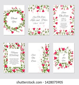 Wedding Invitation. Elegant floral invite set, modern card in rose eustoma leaf greenery branches decorative on white background. Vector elegant rustic template