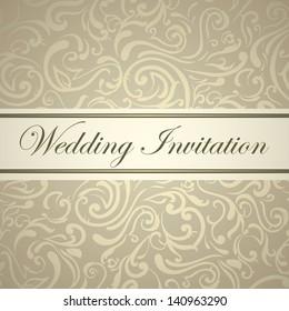 Wedding invitation. Elegant golden swirls texture