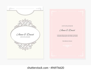 wedding invitation card envelope template laser stock vector