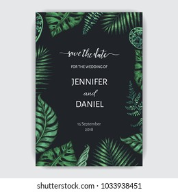 Wedding invitation with exotic tropical leafs.