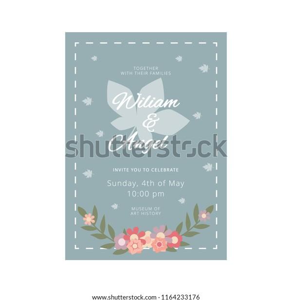 Wedding Invitation Fancy Flat Vector Template Stock Vector ...