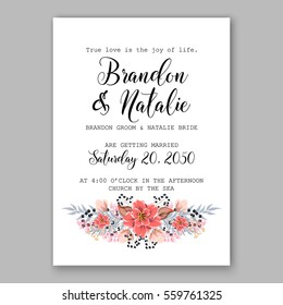 Wedding Invitation Floral Bridal Shower Invitation Wreath with pink flowers Anemone, Peony, wild privet berry,  vector floral illustration in vintage watercolor style