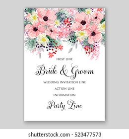 Wedding Invitation Floral Bridal Wreath with pink flowers Anemones, fir, pine branches, wild Privet Berry, vector floral illustration in vintage watercolor style