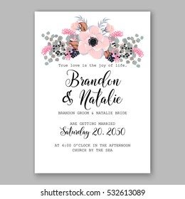 Wedding Invitation Floral Bridal Wreath with pink flowers Anemones, eucaliptus, Mistletoe, wild privet berry, currant berry vector floral illustration in vintage watercolor style