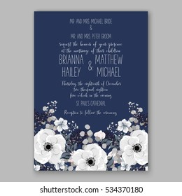 Wedding Invitation Floral Bridal Wreath with pink flowers Anemones, fir, pine branches, wild privet berry, currant berry vector floral illustration in vintage watercolor style