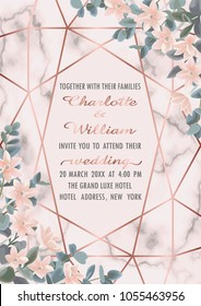 Wedding invitation floral card with pink gold geometric frame, flowers and eucalyptus on marble background. Fashion greenery botanical greeting invite with watercolor effect. Template with text place.