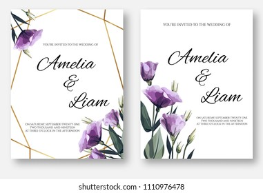Wedding invitation floral card set with lisianthus, eustoma, leaves in watercolor style. Botanical template with golden frame and flowers for invite, greeting and covers, poligraphy