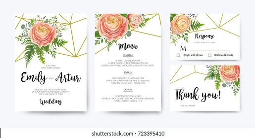 Wedding Invitation, floral invite card Design: pink peach rose Ranunculus elegant wax flowers, blue berry Eucalyptus forest fern greenery bouquet geometric golden border print. Vector illustration set