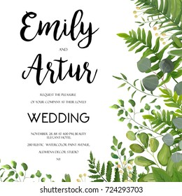 Wedding Invitation, floral invite card Design with green fern leaves elegant greenery, berry, eucalyptus forest bouquet corner frame, border print. Vector garden anniversary cute illustration template