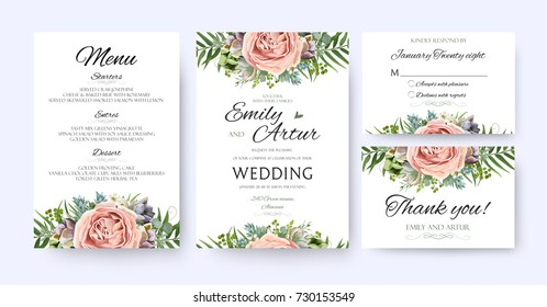 Wedding Invitation, floral invite card Design: garden lavender pink peach Rose Succulent wax green palm fern leaves elegant greenery, berry forest bouquet frame print. Vector menu, rsvp, thank you set