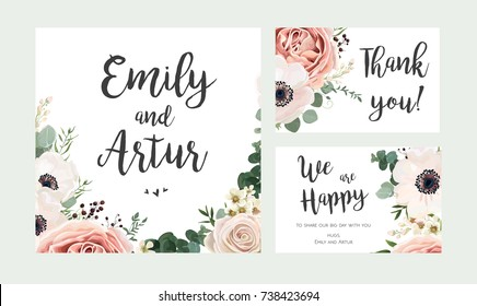 Wedding Invitation, floral invite card vector Design: garden lavender pink peach Rose white Anemone wax green Eucalyptus thyme leaves elegant greenery, berry, forest bouquet print. Rsvp, thank you set