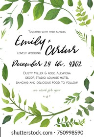 Wedding Invitation, floral invite card Design with green fern leaves elegant greenery foliage eucalyptus forest bouquet round frame, wreath print. Vector rustic eco friendly postcard cute illustration