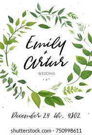 Wedding Invitation, floral invite card Design: green fern leaves elegant greenery, foliage eucalyptus forest bouquet decorative frame, wreath print. Vector elegant trendy rustic save the date postcard