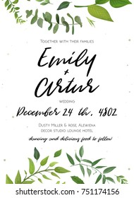 Wedding Invitation, floral invite card Design: green fern leaves trendy greenery, foliage eucalyptus forest bouquet decorative frame wreath print. Vector elegant vertical rustic save the date postcard