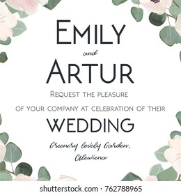 Wedding Invitation floral invite card watercolor hand drawn design with cute white garden Anemone poppy flower silver dollar Eucalyptus green leaf & branches.Elegant vector art template layout
