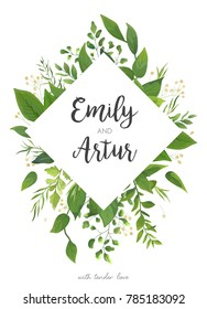 Wedding Invitation, floral invite card Design: green fern leaves greenery, forest foliage decorative rhombus frame print. Vector elegant watercolor rustic save the date, postcard template