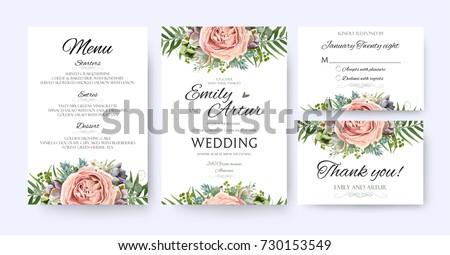 Wedding Invitation Floral Invite Card Design Image Vectorielle De