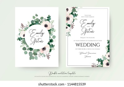 Wedding Invitation, floral invite modern card Design: light pink anemone flower, green eucalyptus greenery branches, thyme leaves & berries wreath & frame pattern. Vector, elegant, watercolor template